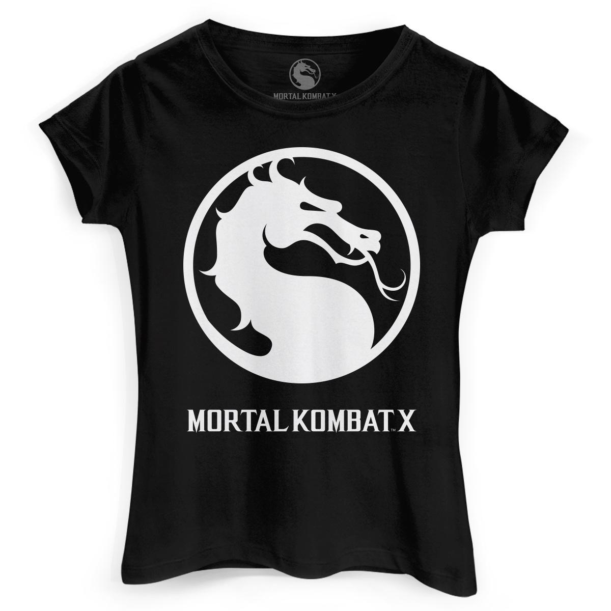 Camiseta Feminina Mortal Kombat X Logo