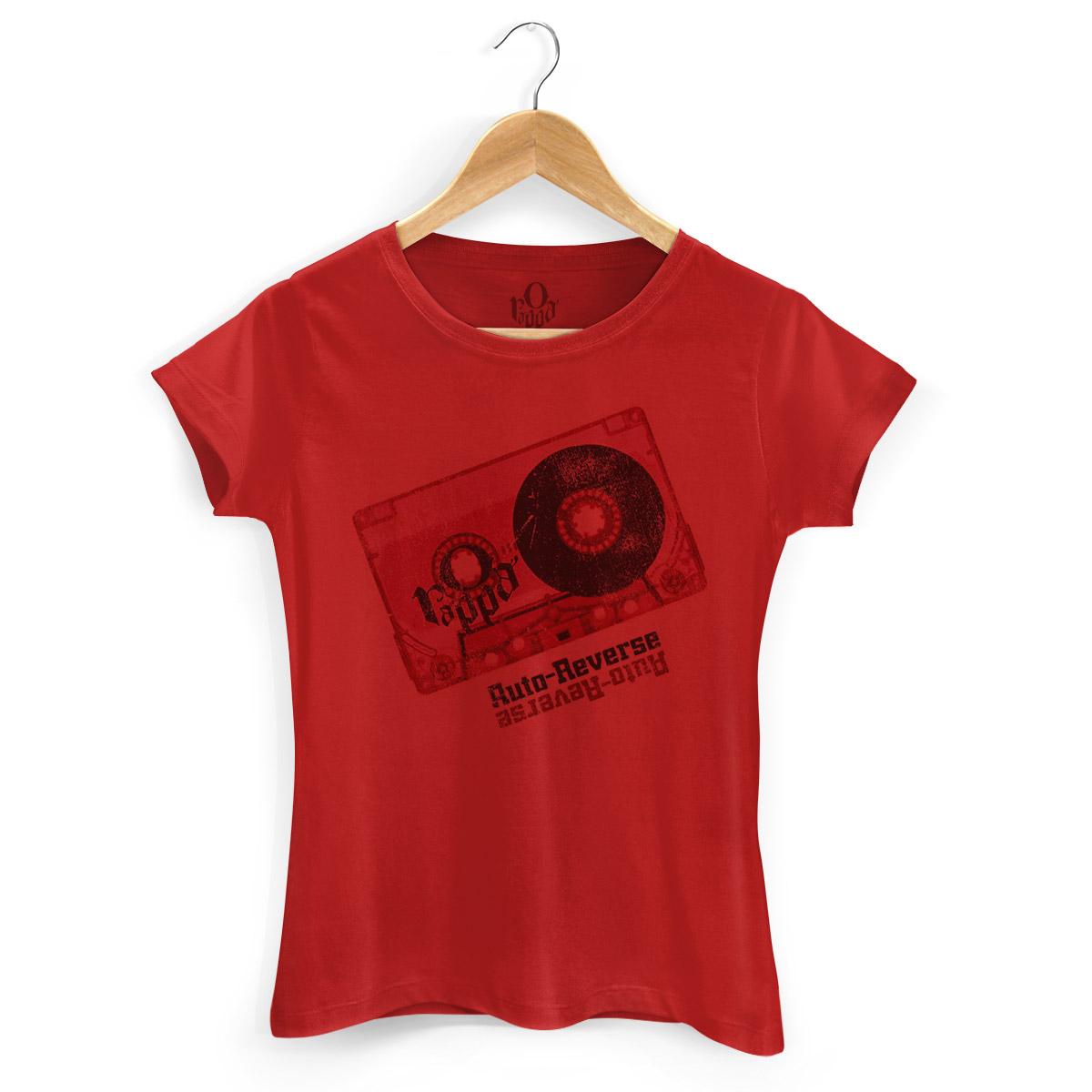 Camiseta Feminina O Rappa Auto-Reverse Vermelha