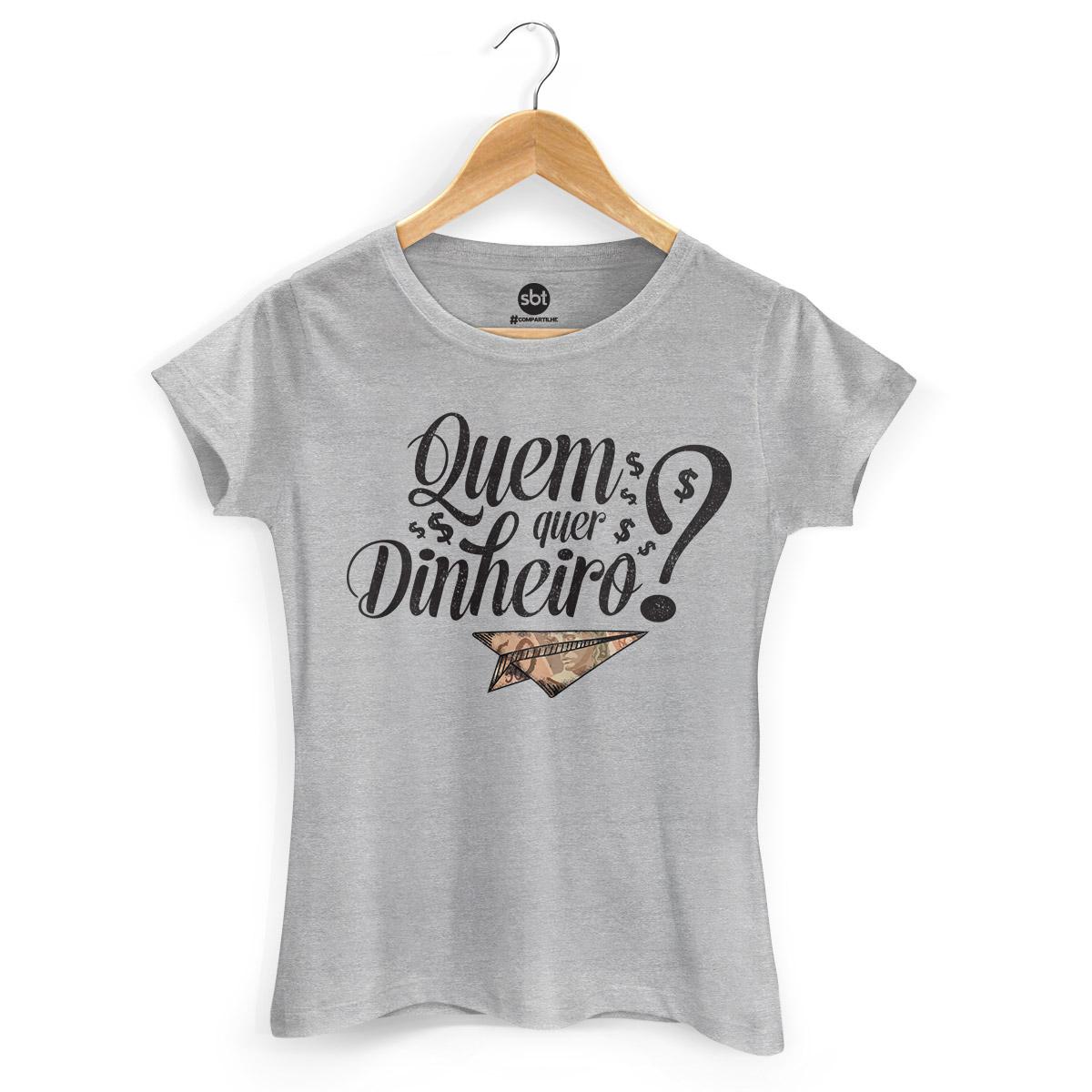 Camiseta Feminina SBT Quem Quer Dinheiro? Type