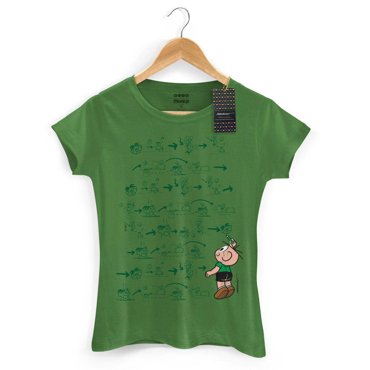 Camiseta Feminina Turma Da M�nica Cool Green Cebolinha