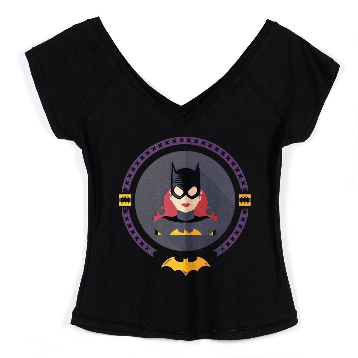 Camiseta Gola V Feminina Batgirl Icon
