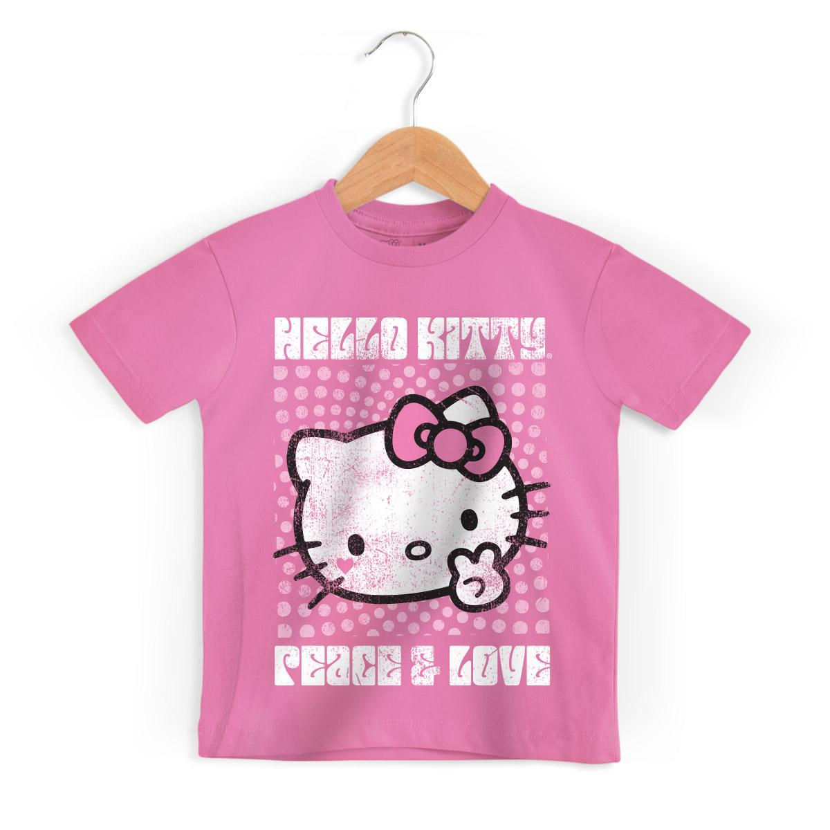 Camiseta Infantil Hello Kitty Peace & Love