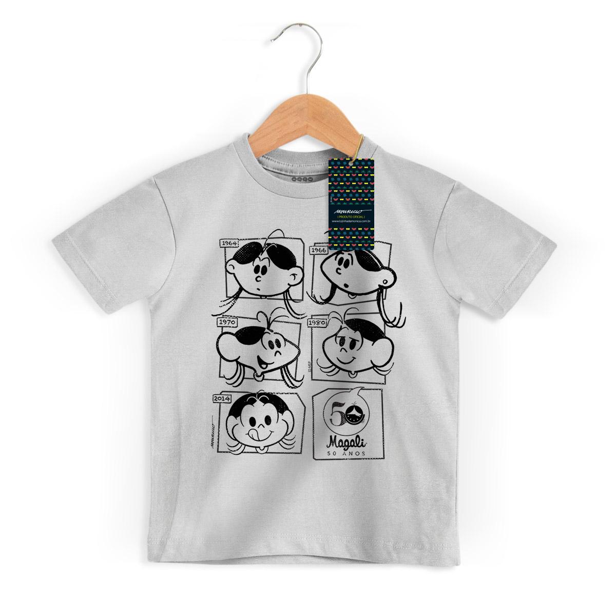 Camiseta Infanto Juvenil Magali 50 Anos Evolução