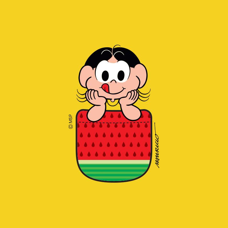 Camiseta Infantil Magali 50 Anos Sementes de Melancia