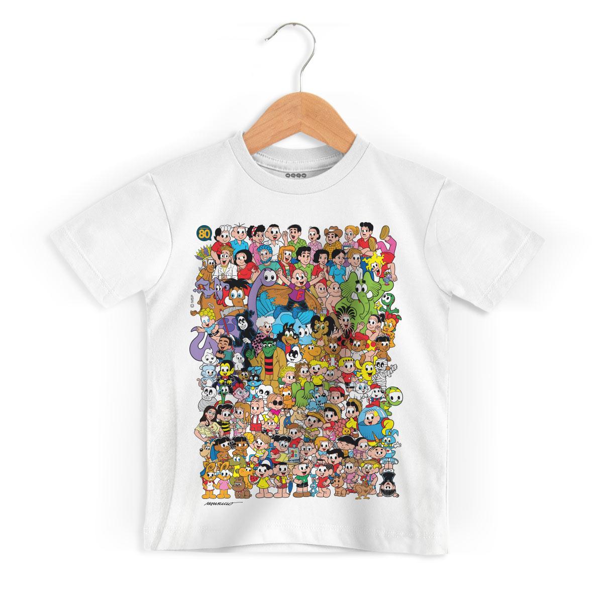 Camiseta Infantil Maurício de Sousa 80 Anos Colors