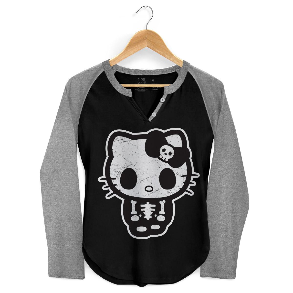 Camiseta Manga Longa Raglan Feminina Hello Kitty Skull