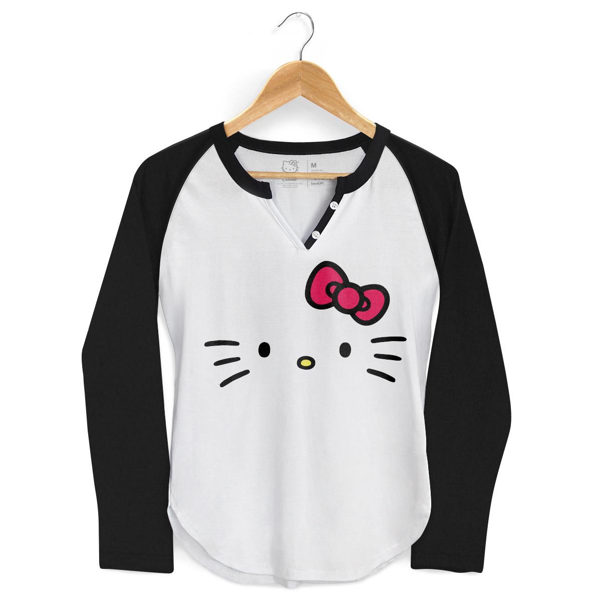 Camiseta Manga Longa Raglan Feminina Hello Kitty White