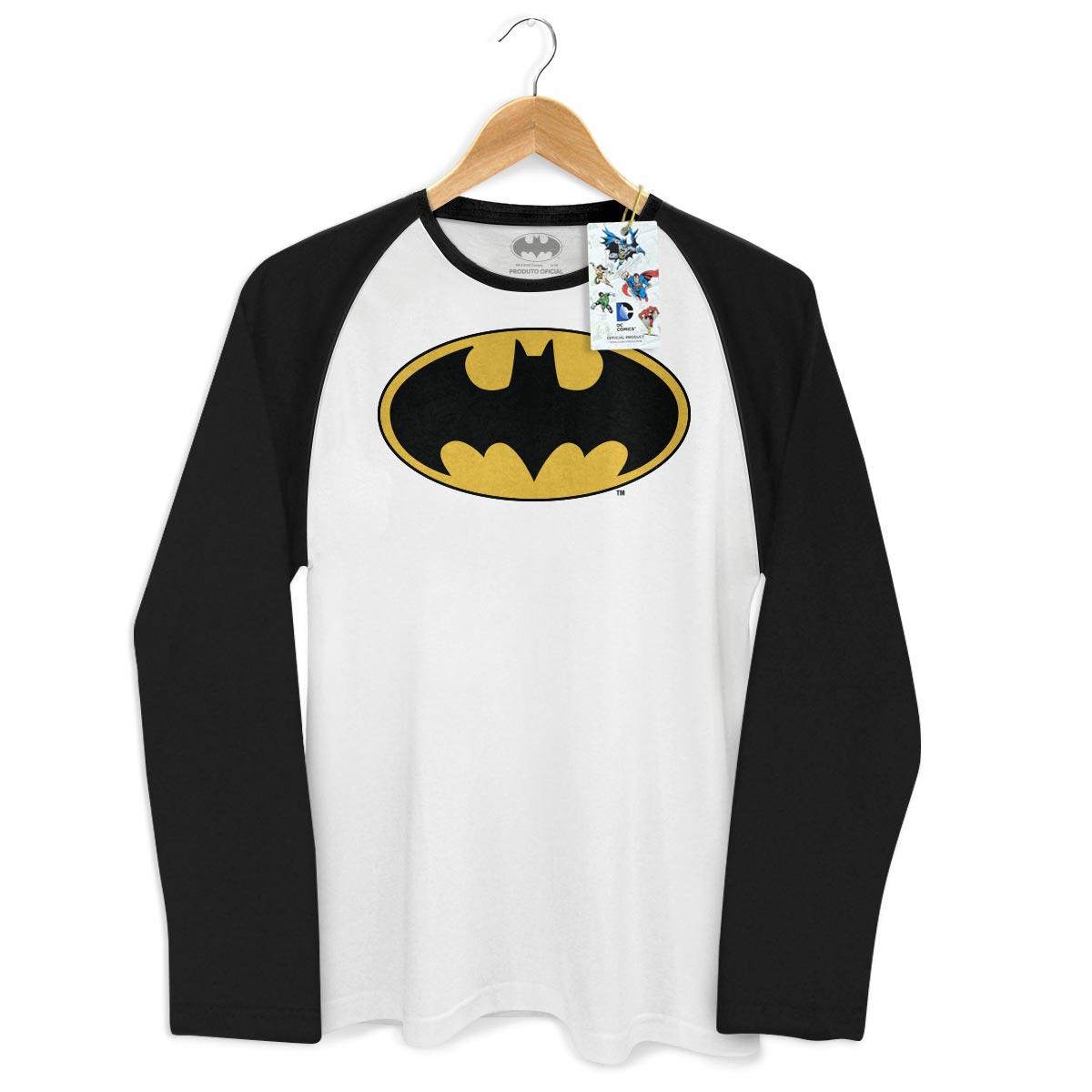 Camiseta Manga Longa Raglan Masculina Batman Logo Clássico
