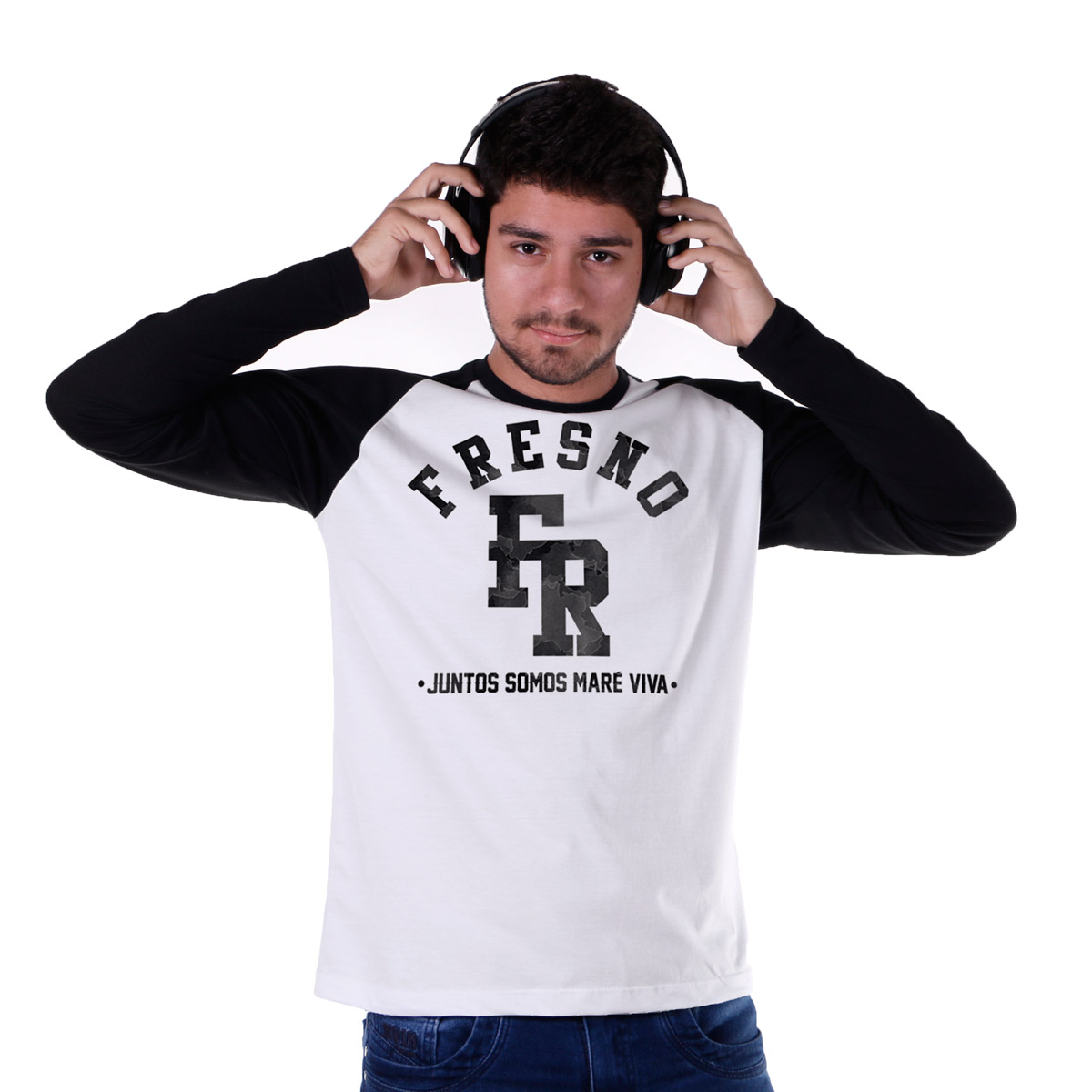 Camiseta Manga Longa Raglan Masculina Fresno Juntos Somos Maré Viva