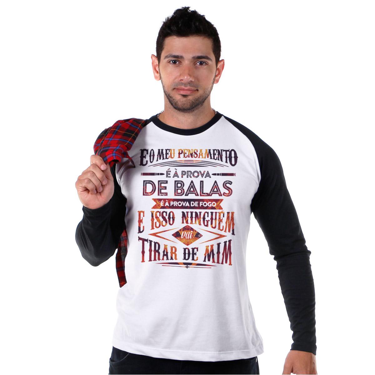 Camiseta Manga Longa Raglan Masculina Fresno Pensamento à Prova de Balas Type