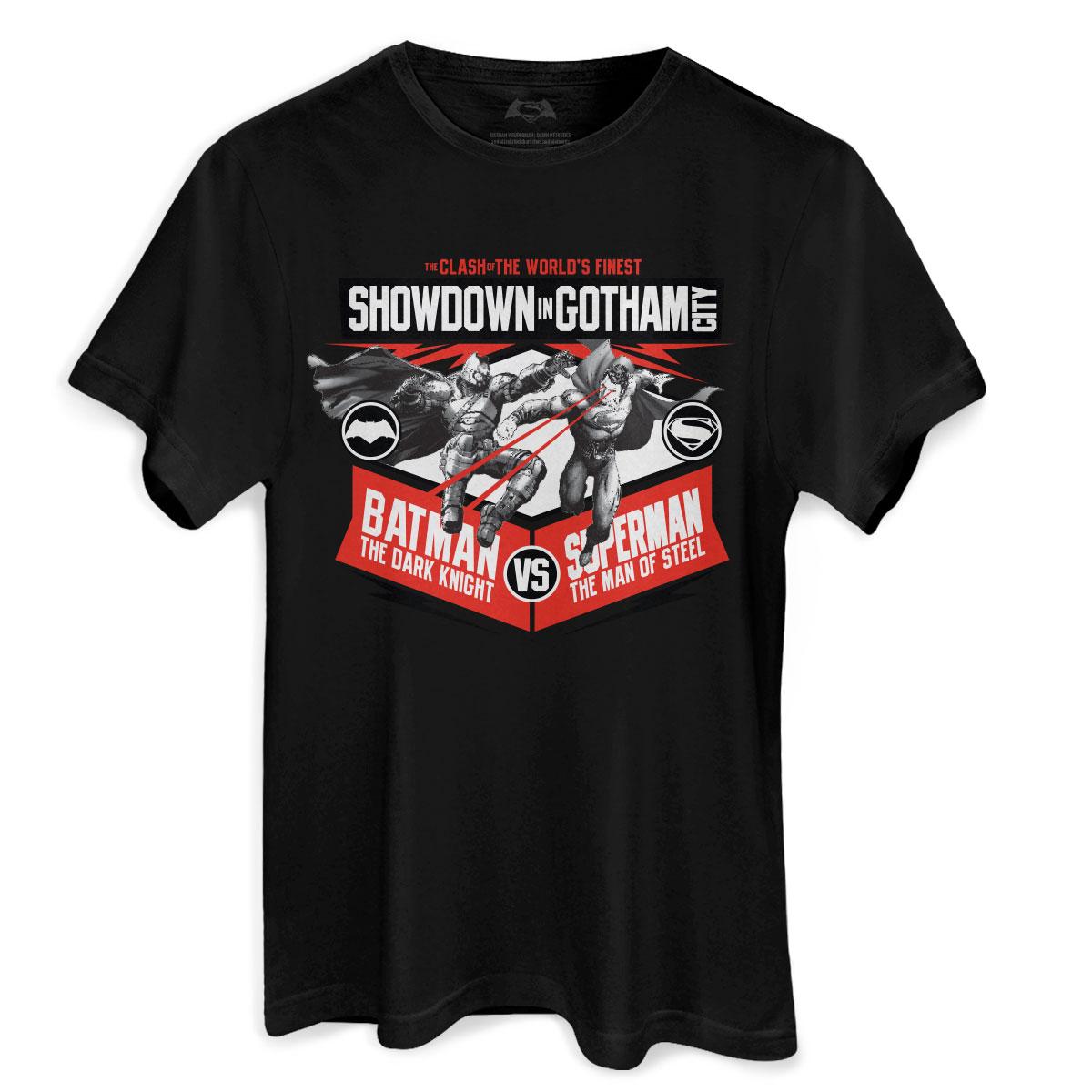 Camiseta Masculina Batman VS Superman Showdown In Gotham City