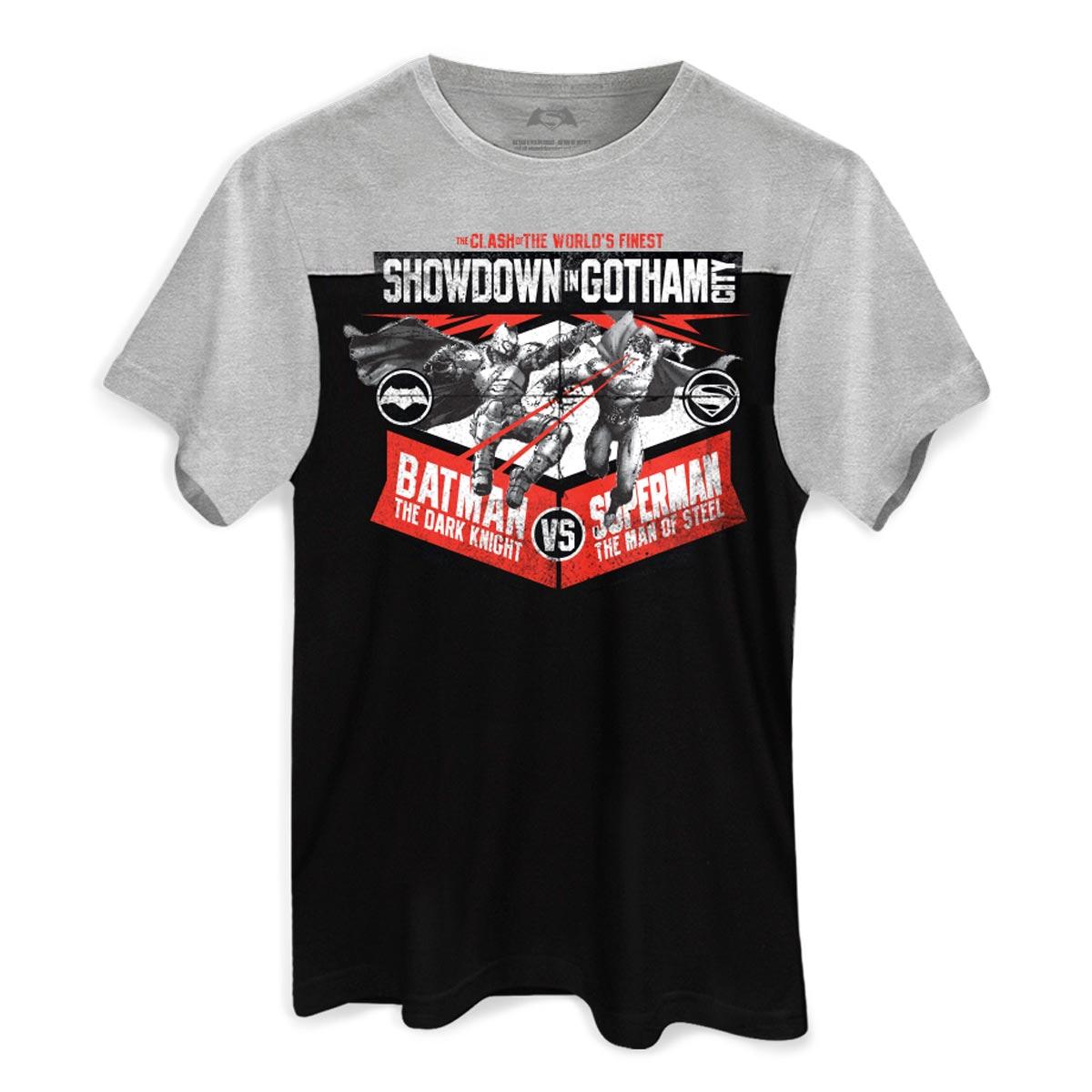 Camiseta Masculina BiColor Batman VS Superman Showdown In Gotham City