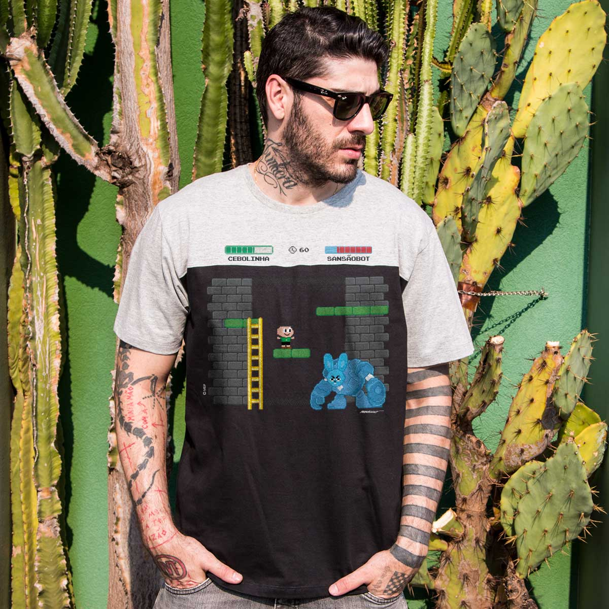 Camiseta Masculina Bicolor Turma da M�nica Cebolinha Sans�oBot