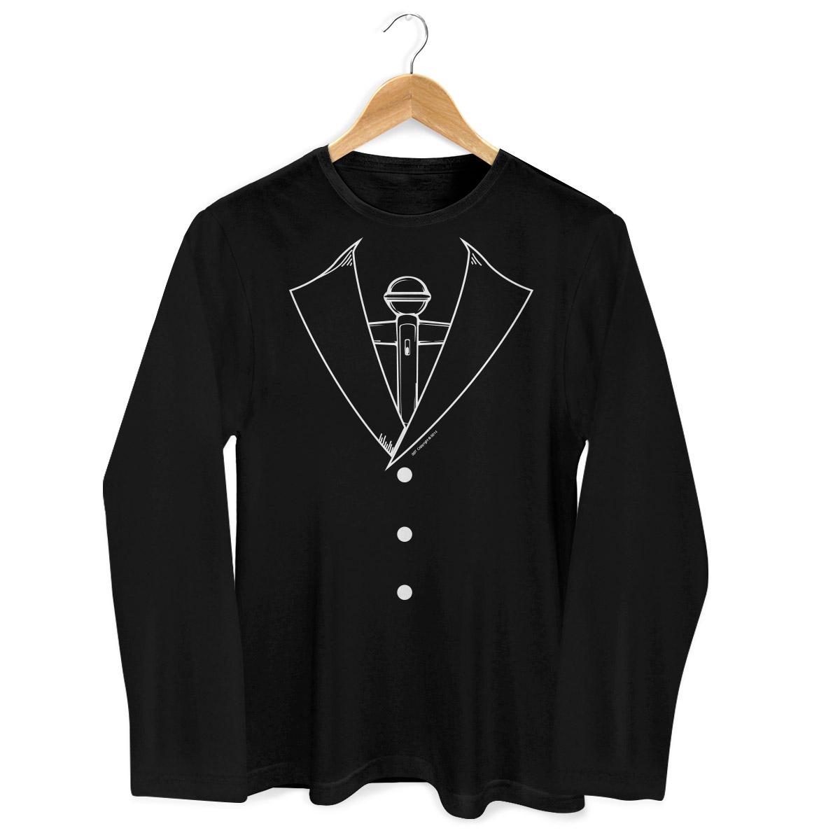 Camiseta Masculina de Manga Longa SBT Microfone