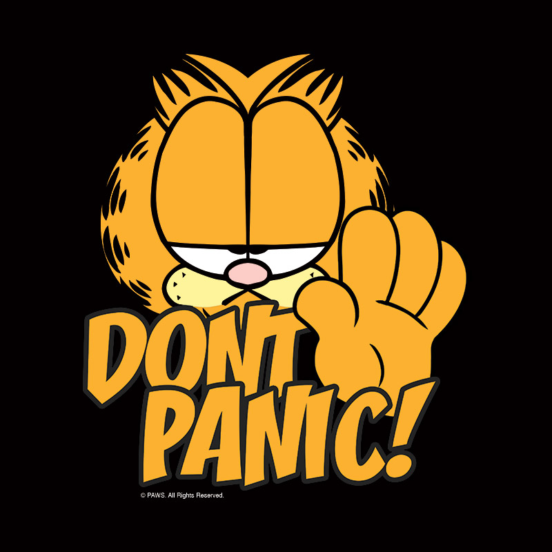 Camiseta Masculina Garfield Don´t Panic!