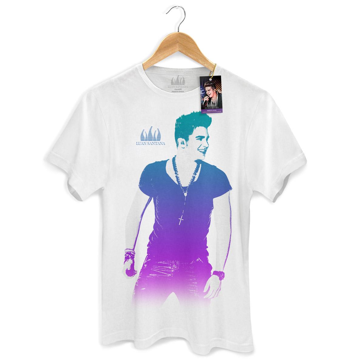 Camiseta Masculina Luan Santana Foto Degrad� Branca