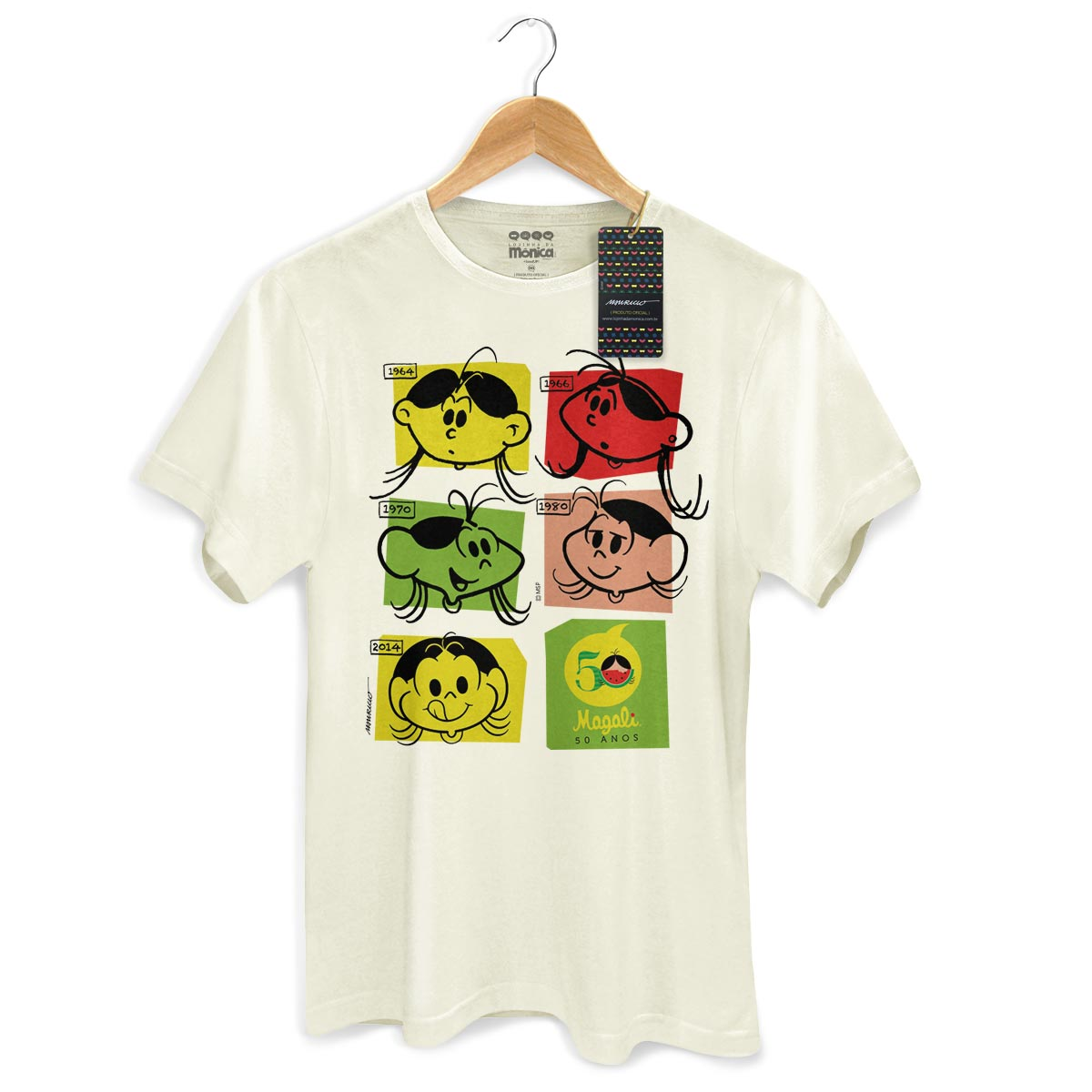 Camiseta Masculina Magali 50 Anos Evolu��o Colors
