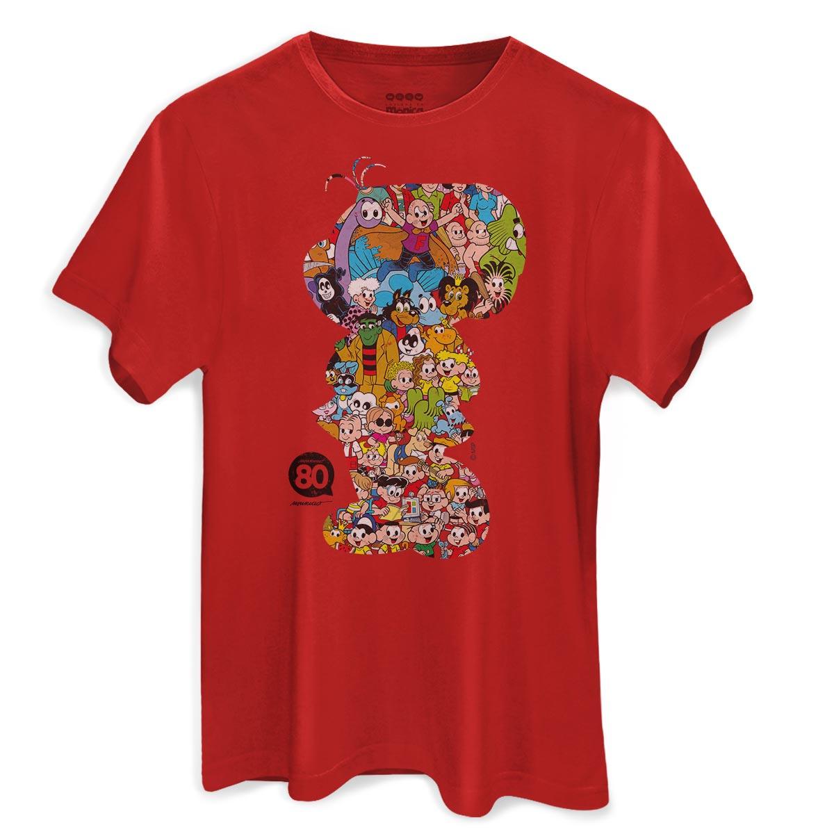Camiseta Masculina Maur�cio de Sousa 80 Anos M�nica