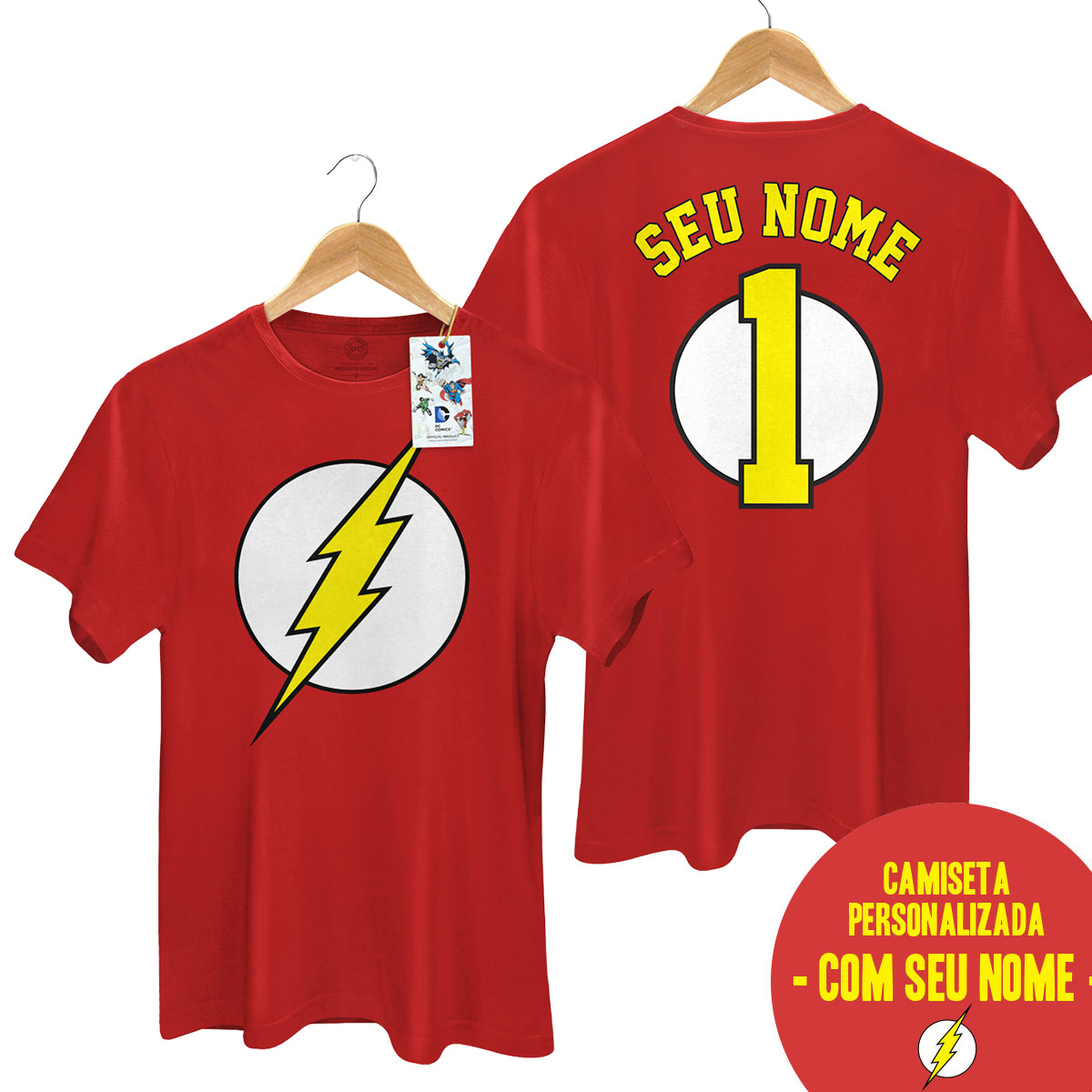 Camiseta Masculina The Flash Logo Name