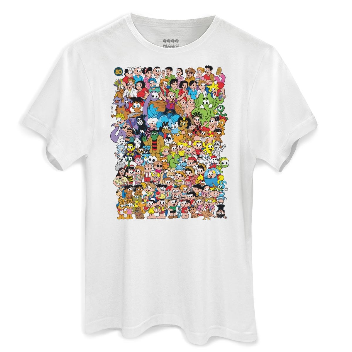 Camiseta Masculina Turma da M�nica 80 Anos Colors