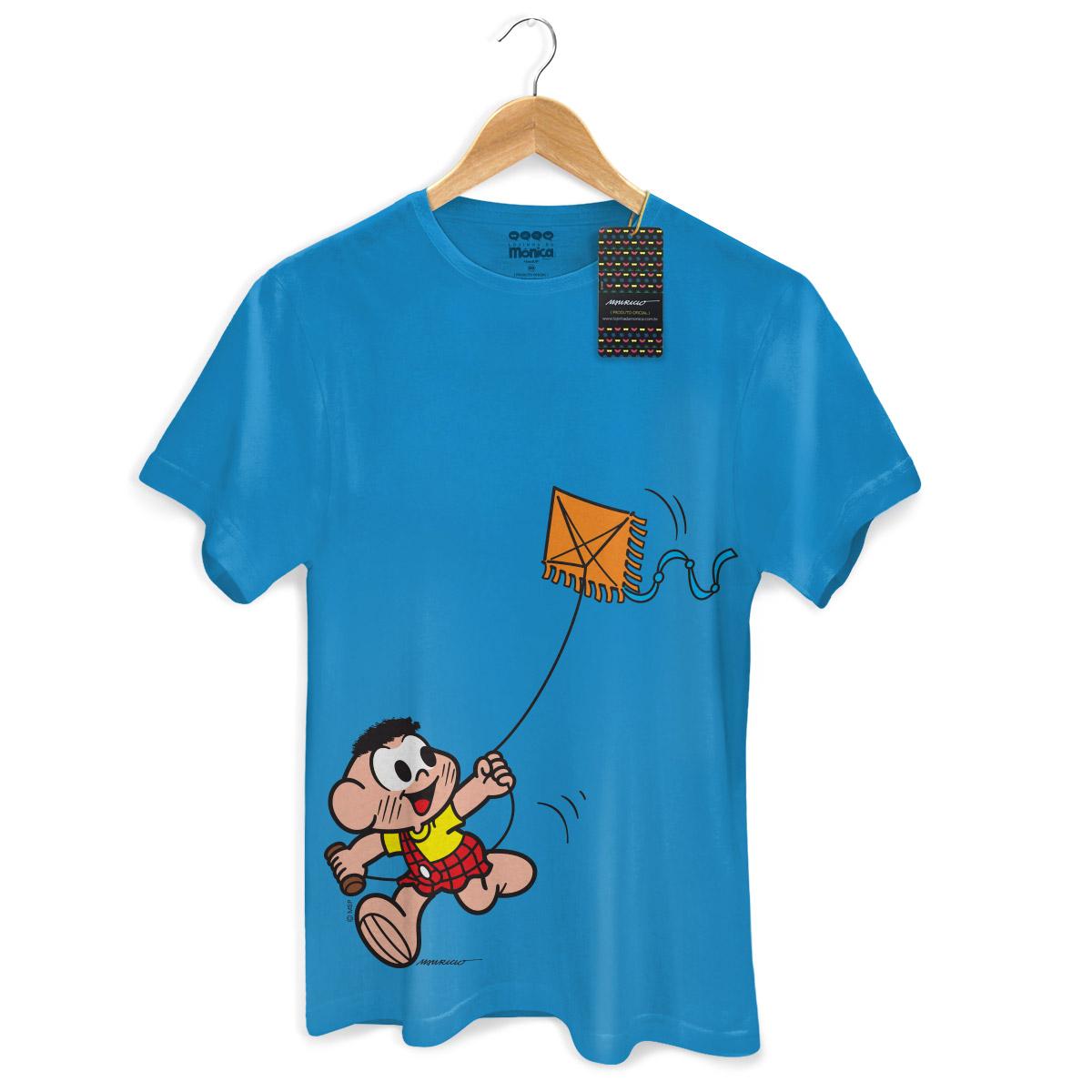 Camiseta Masculina Turma da Mônica Kids Cascão Soltando Pipa