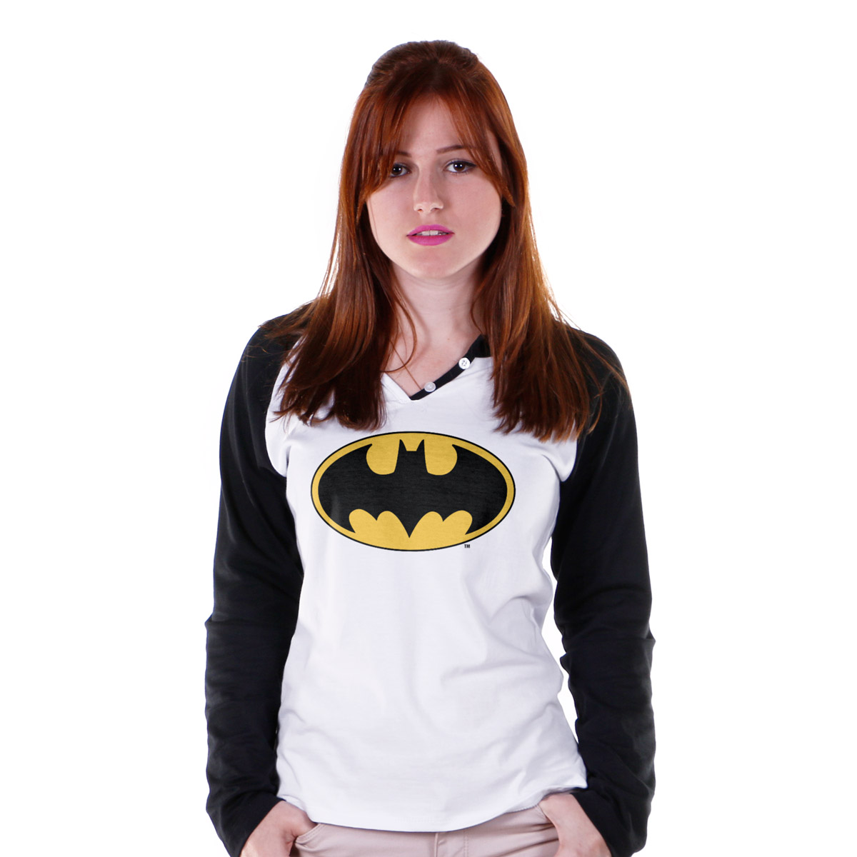Camiseta Raglan Feminina Batman Logo Cl�ssico