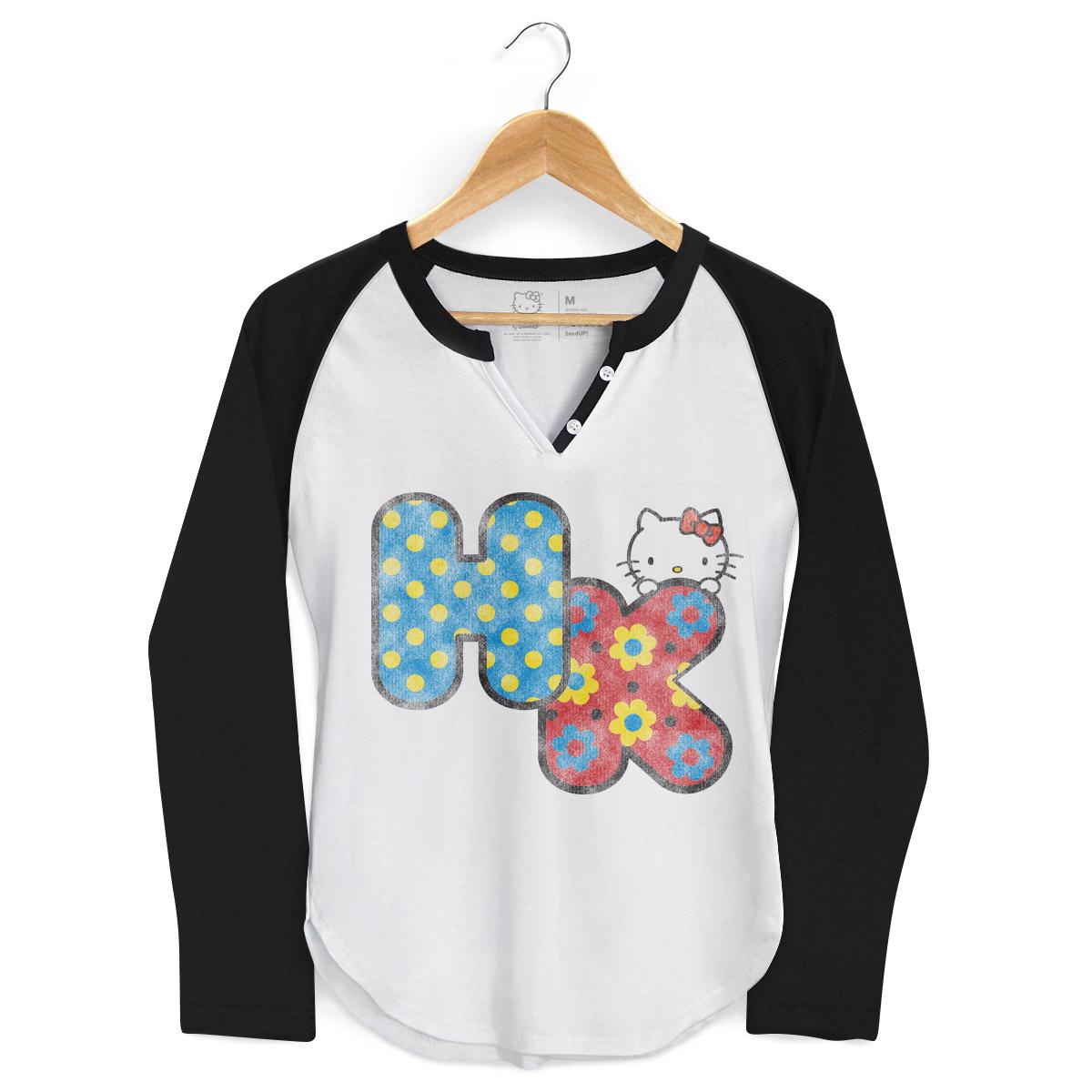 Camiseta Raglan Feminina Hello Kitty HK Cute