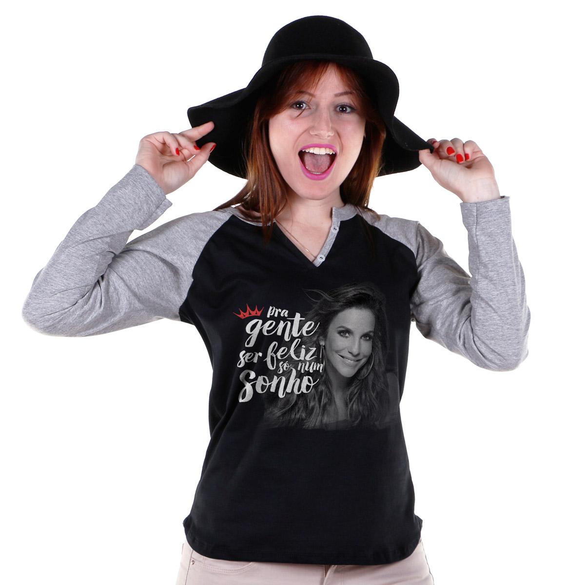 Camiseta Raglan Feminina Ivete Sangalo Pra Gente Ser Feliz