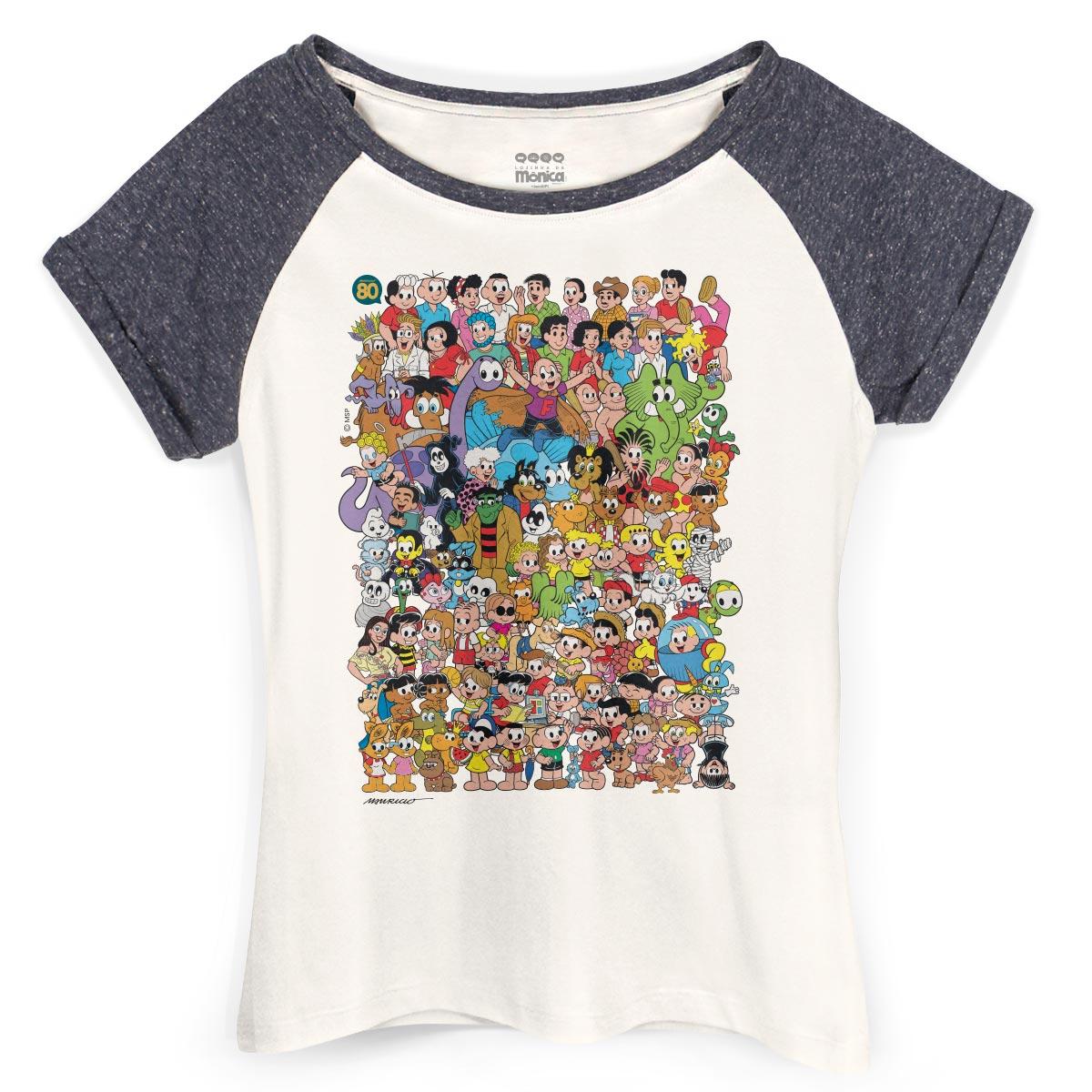 Camiseta Raglan Feminina Maur�cio de Sousa 80 Anos