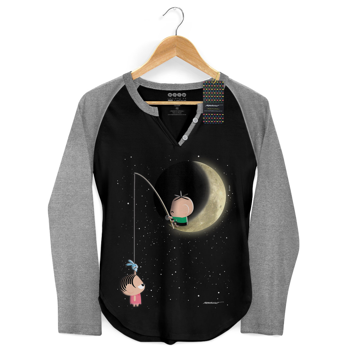 Camiseta Raglan Feminina Turma da Mônica Toy Lua