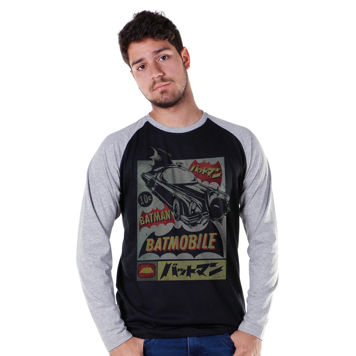 Camiseta Raglan Masculina Batman Batmobile