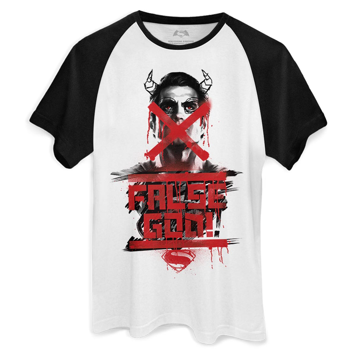 Camiseta Raglan Masculina Batman VS Superman Masked Manace