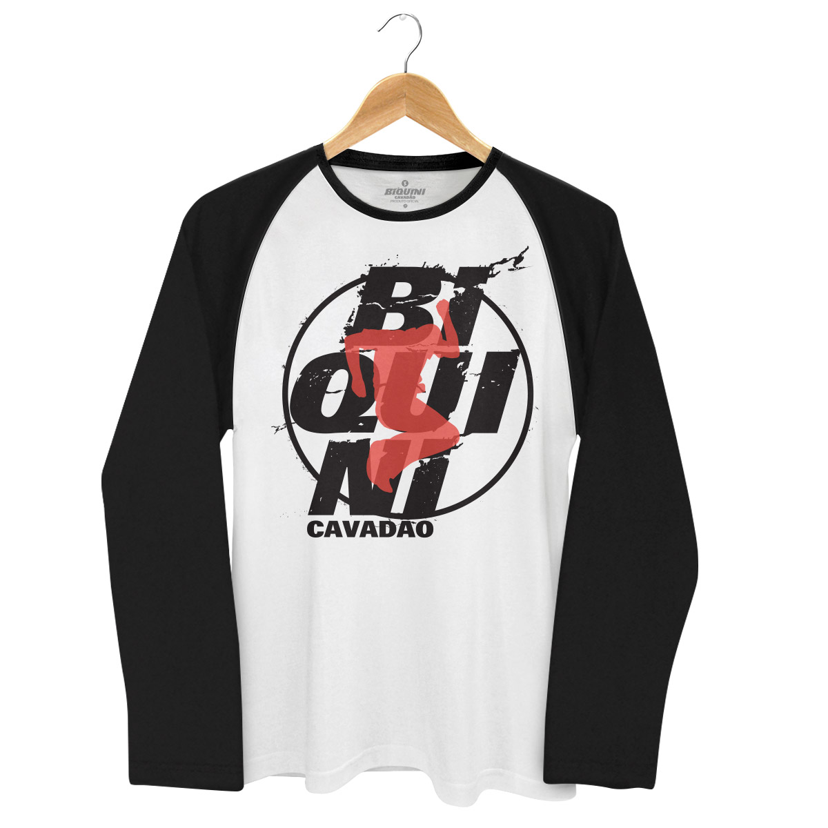 Camiseta Raglan Masculina Biquini Cavadão Logo Ao Vivo