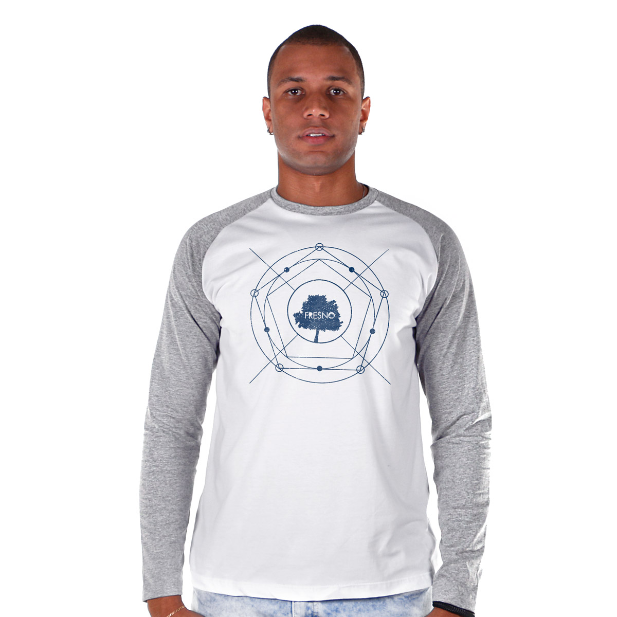 Camiseta Raglan Masculina Fresno Árvore Diagrama