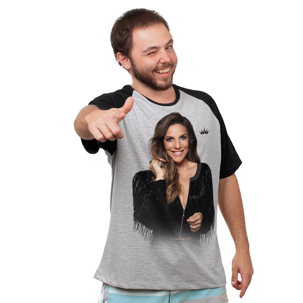 Camiseta Raglan Masculina Ivete Sangalo Riso