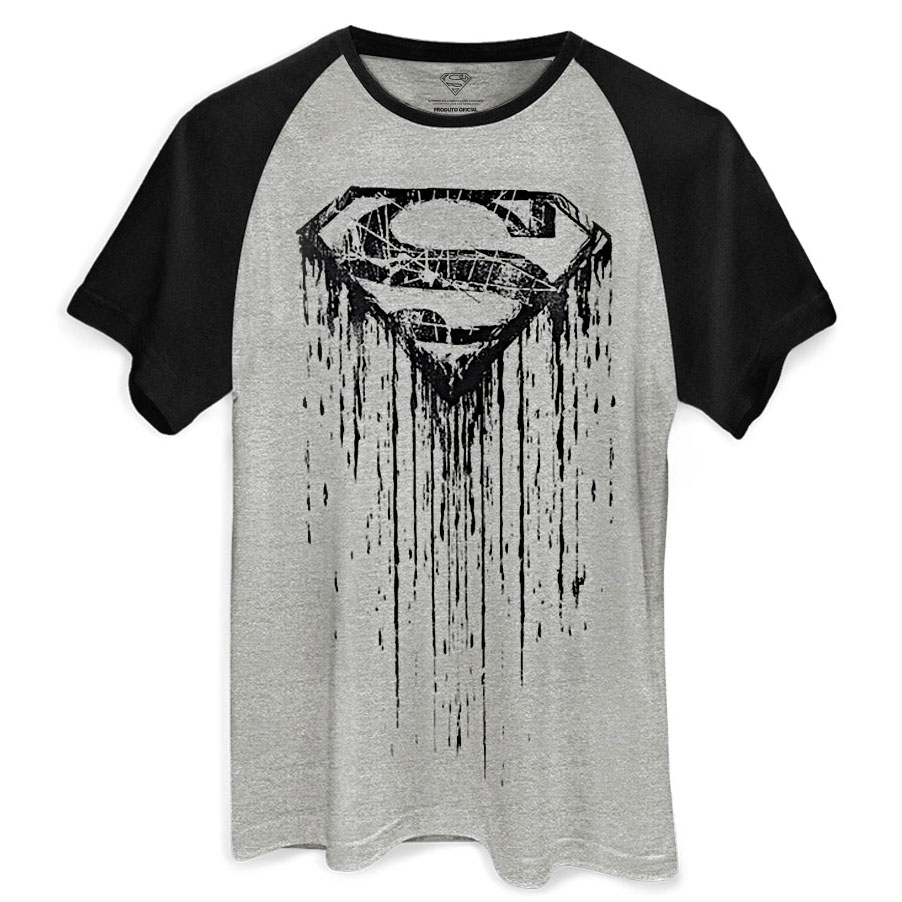 Camiseta Raglan Masculina Superman Steel Melting