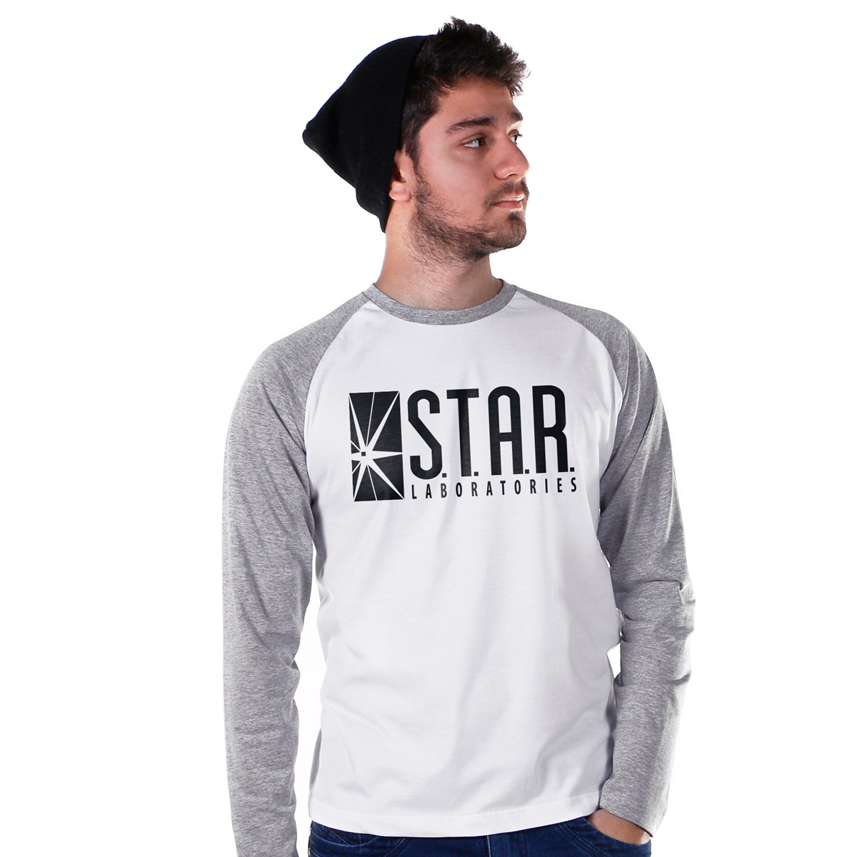 Camiseta Raglan Masculina The Flash Serie STAR Laboratories