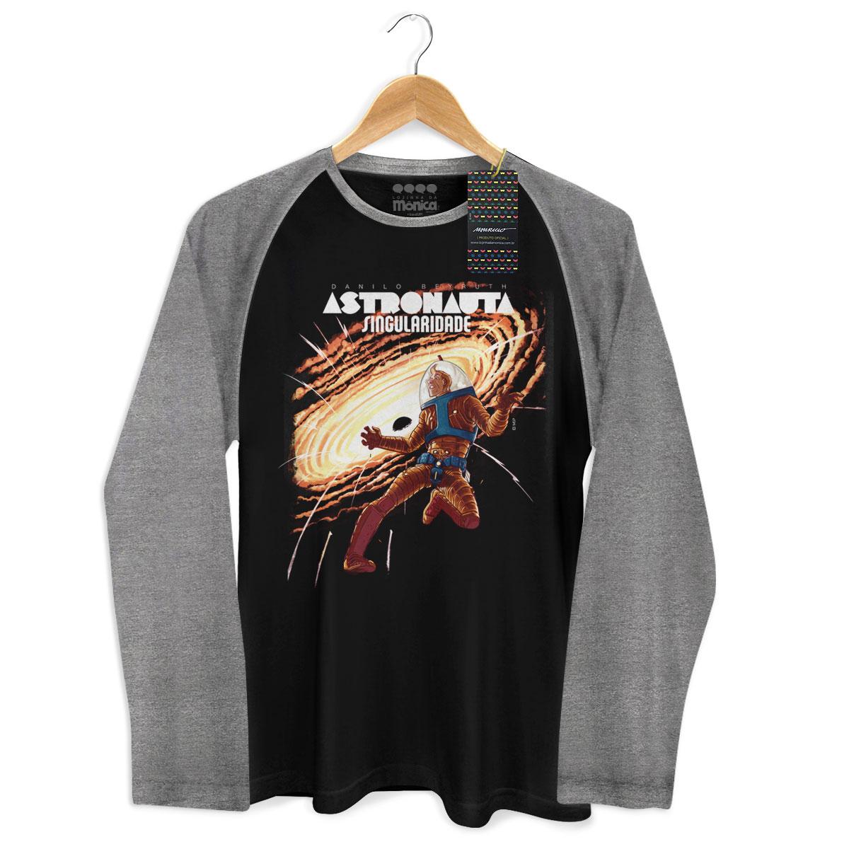 Camiseta Raglan Masculina Turma da Mônica Astronauta Singularidade