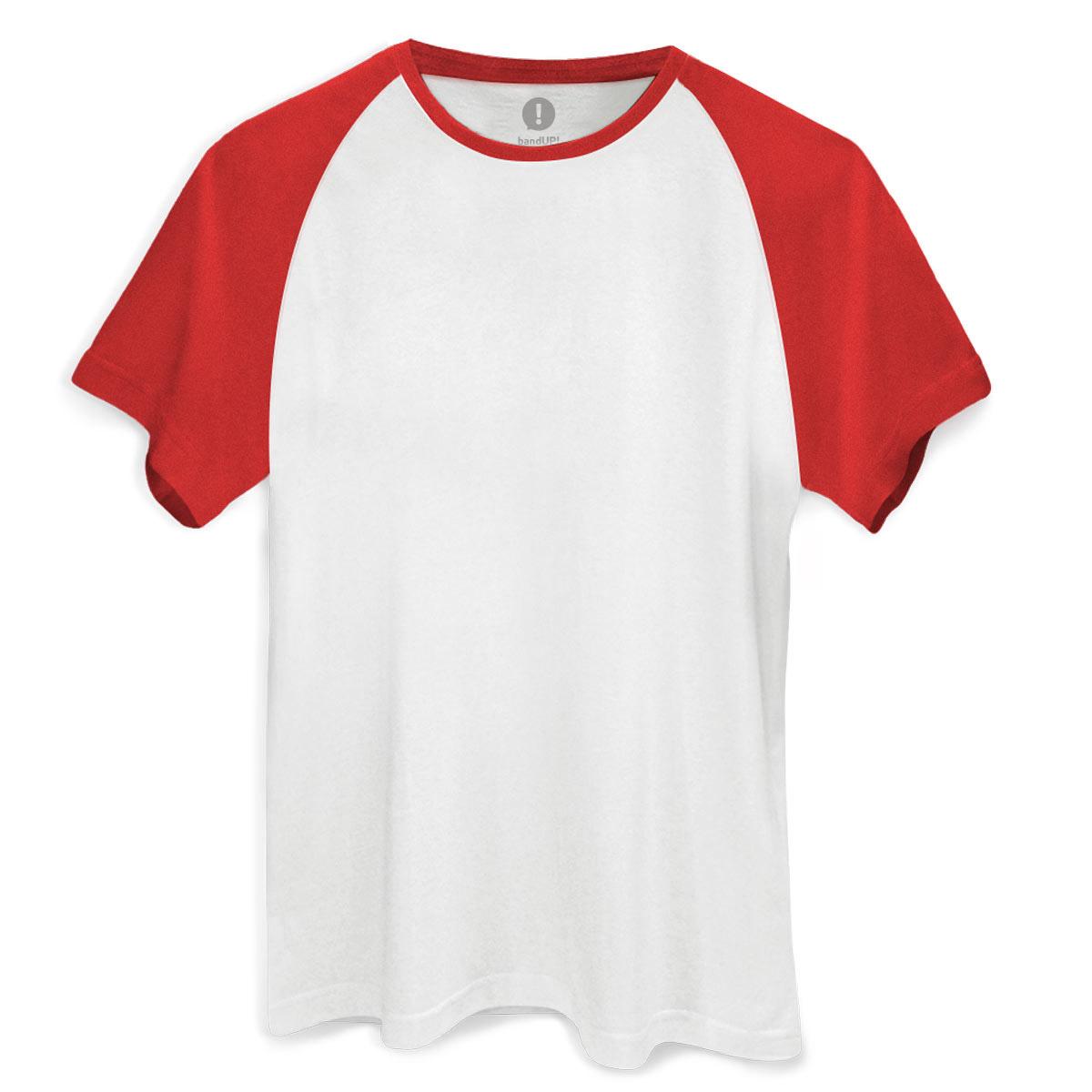 Camiseta Raglan Premium Masculina Branco e Vermelho