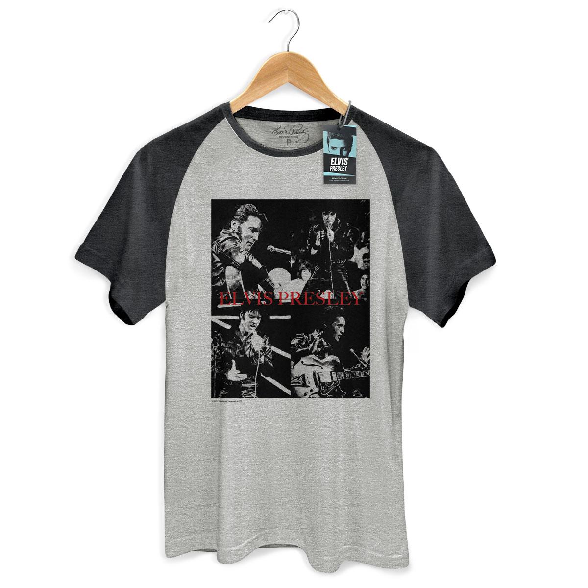 Camiseta Raglan Premium Masculina Elvis Presley 68 Pics