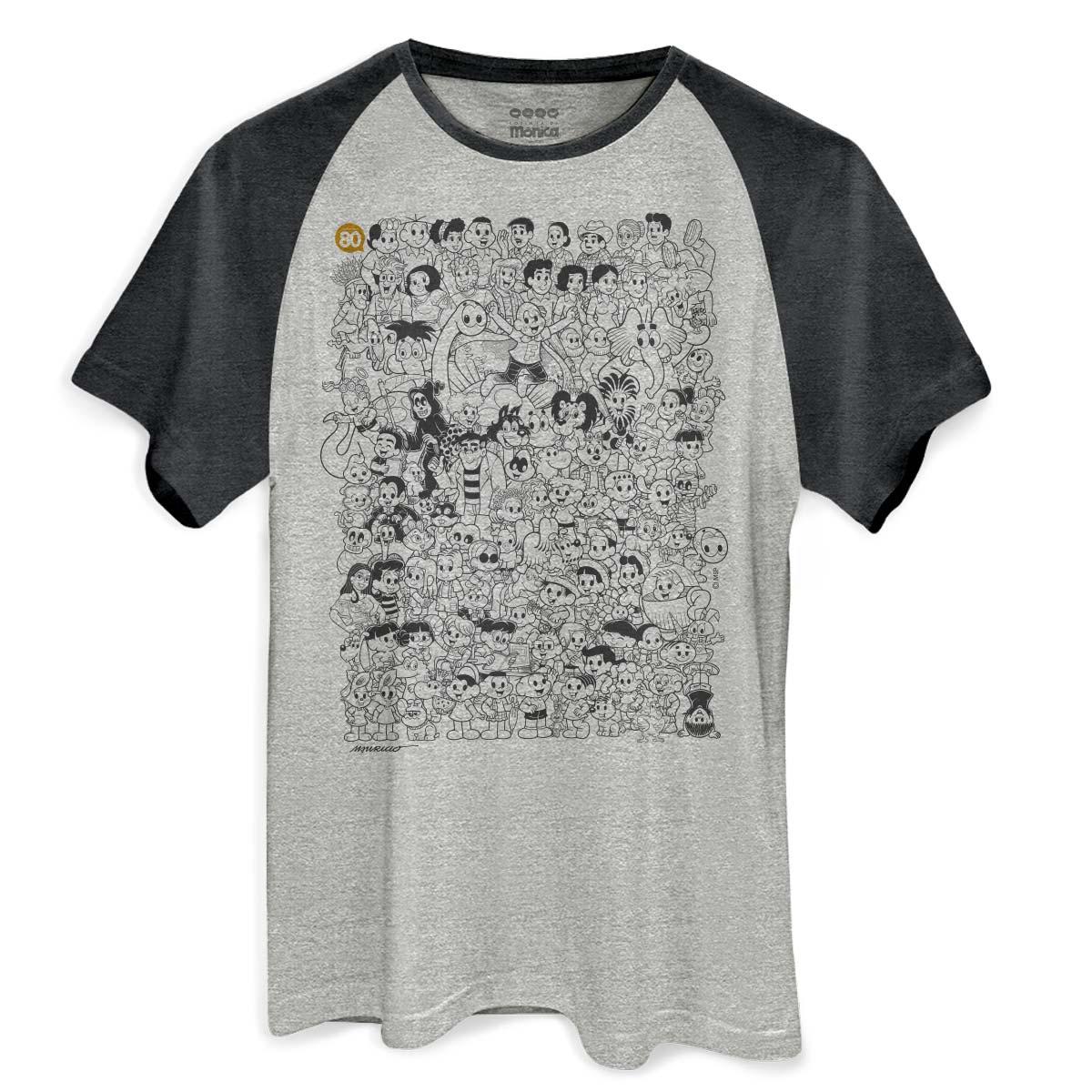 Camiseta Raglan Premium Masculina Maur�cio de Sousa 80 Anos P&B