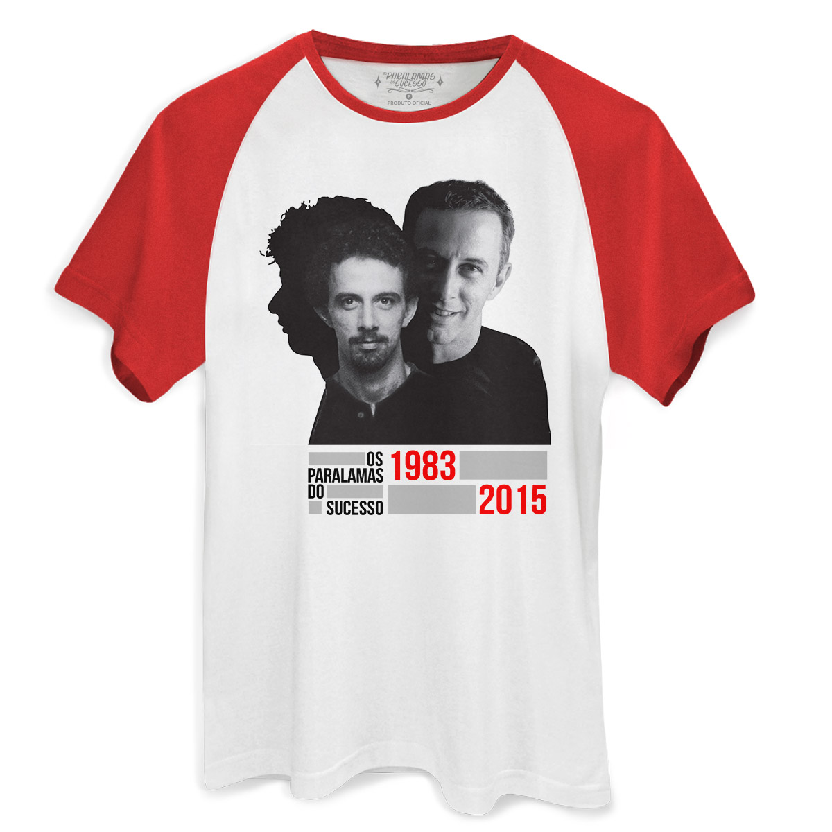 Camiseta Raglan Premium Masculina Os Paralamas do Sucesso João Barone 1983-2015