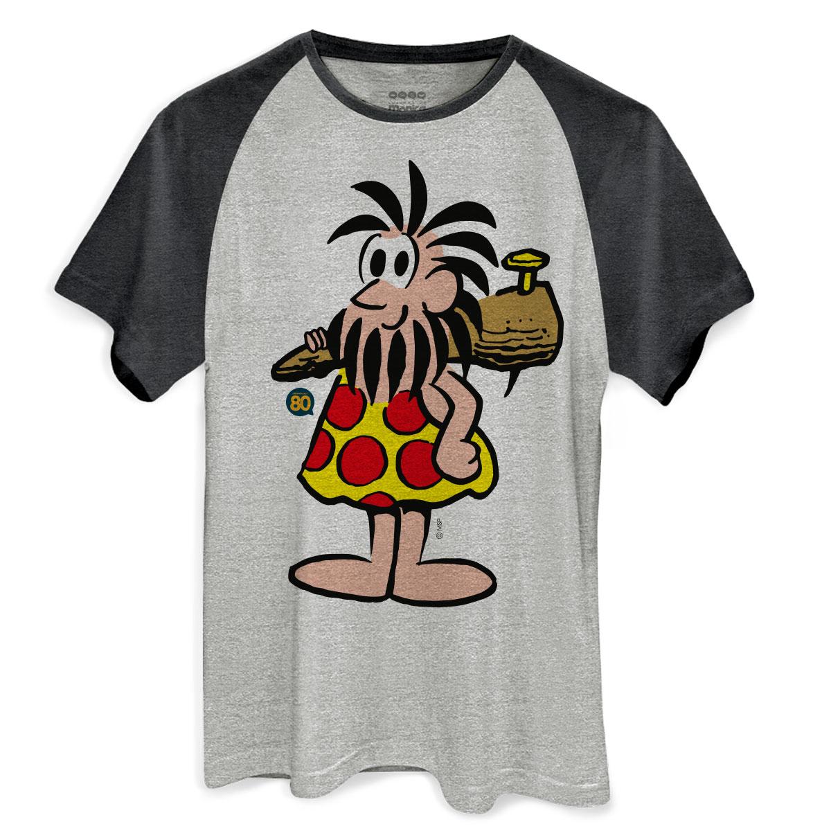 Camiseta Raglan Premium Masculina Turma da Mônica Pose Piteco
