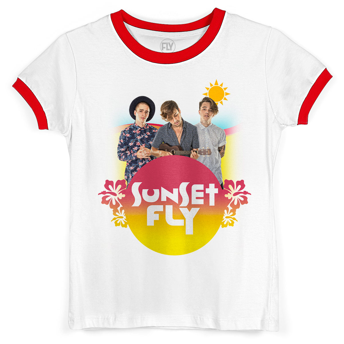 Camiseta Ringer Feminina Banda Fly Sunset Boys