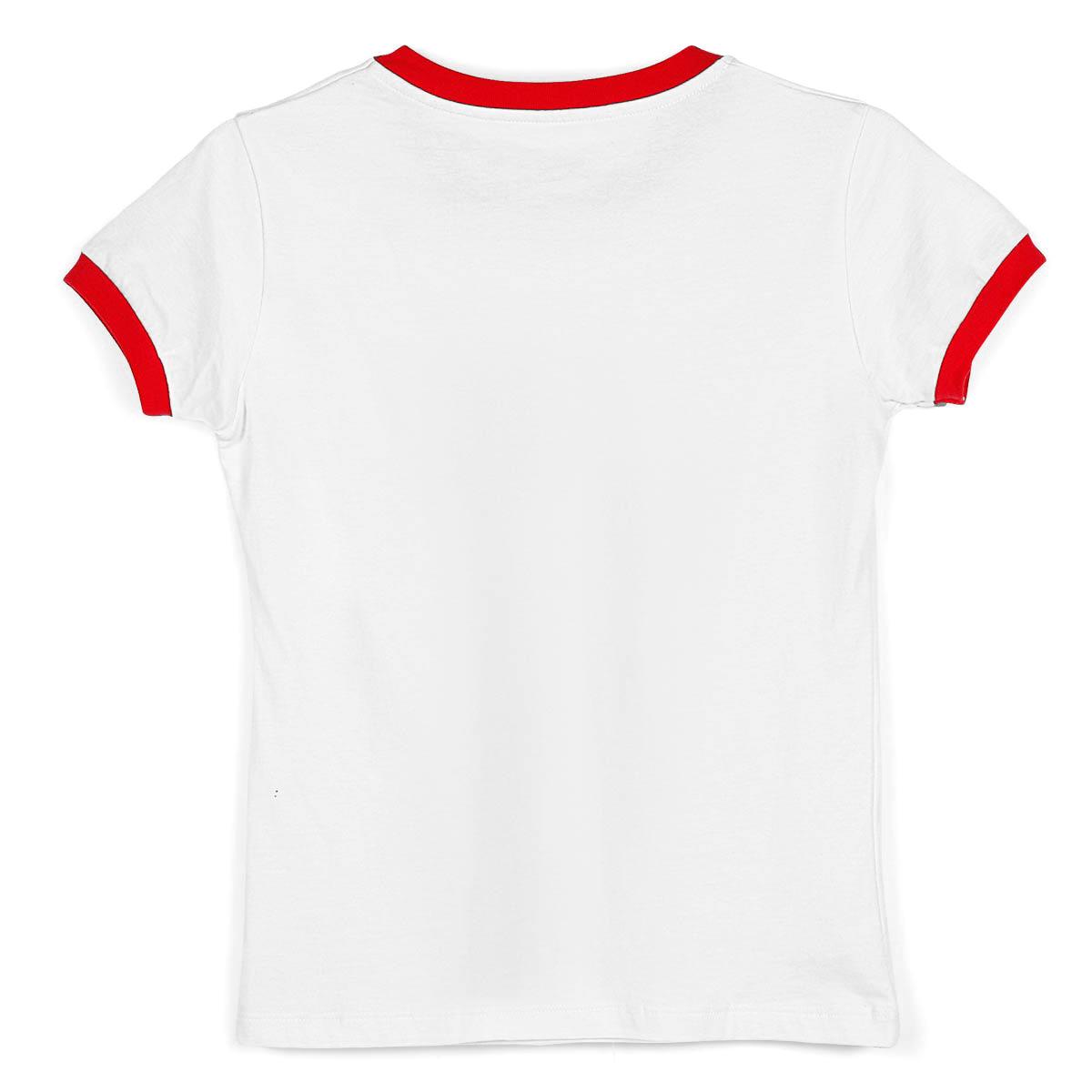 Camiseta Ringer Feminina Branco e Vermelho