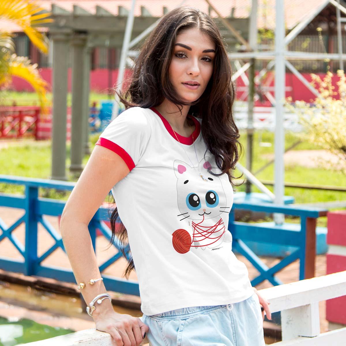 Camiseta Ringer Feminina Turma da Mônica Toy Mingau Lã