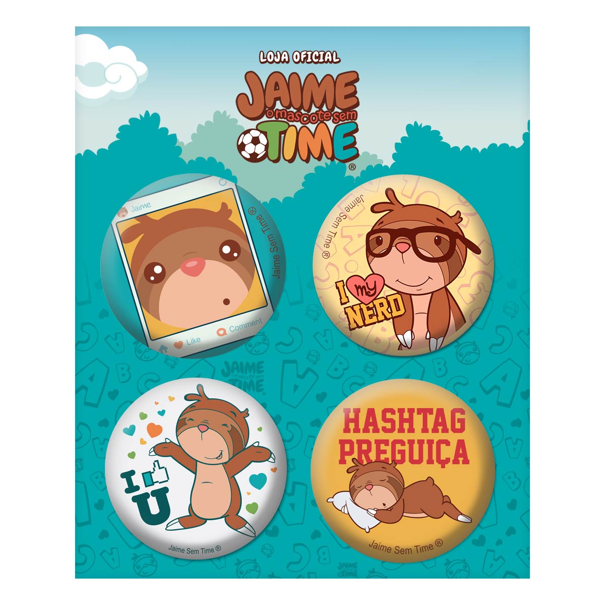 Cartela de Buttons Jaime Bicho Pregui�a