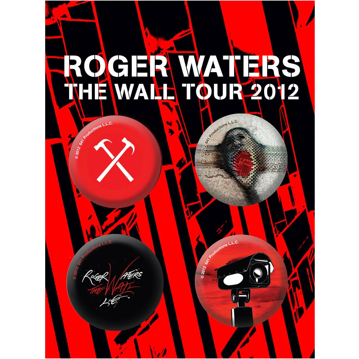 Cartela de Buttons Roger Waters The Wall Tour 2012