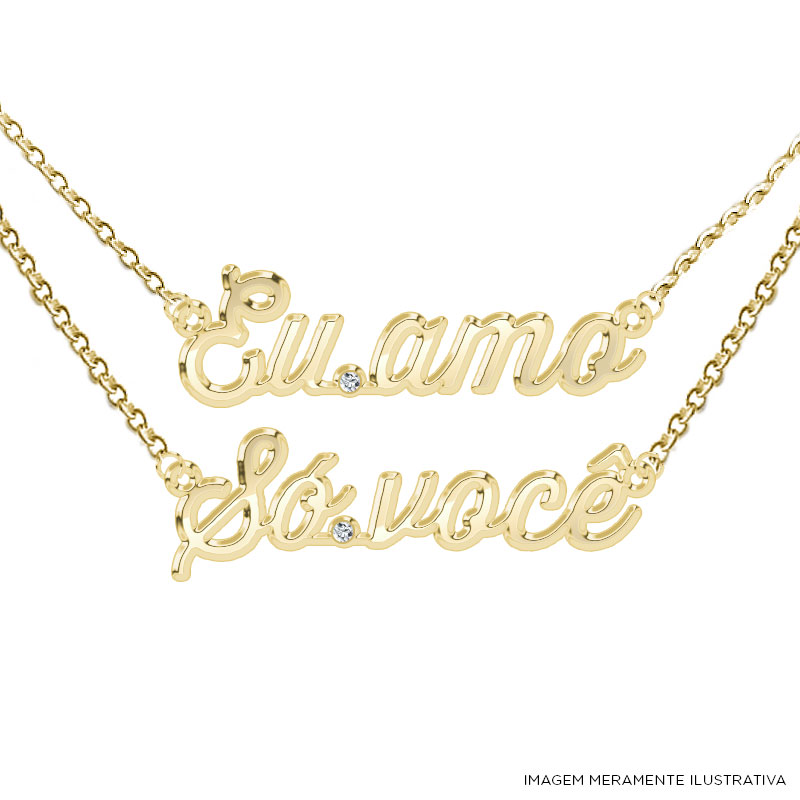 Colar Ouro Luan Santana Eu Amo S� Voc�