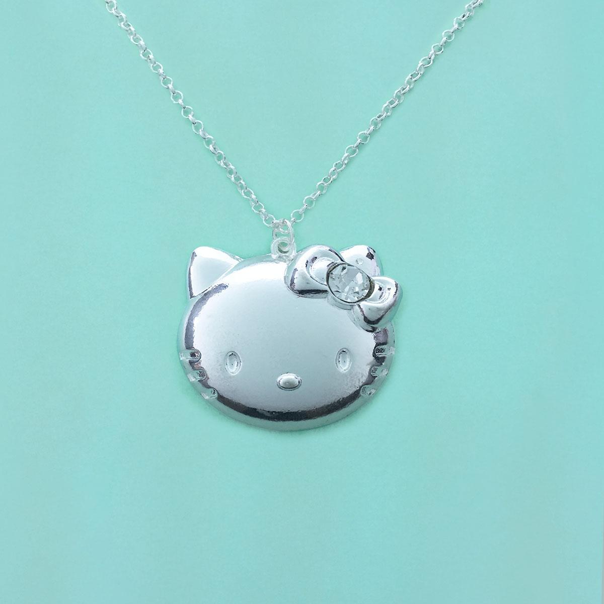 Colar Prata Hello Kitty Laços Strass